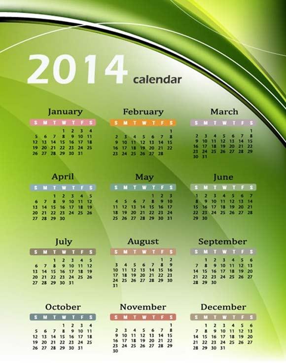 Calendario 2014 Vectorial Verde y abstracto gratuito