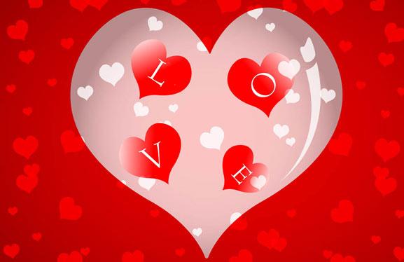 Love Amor, corazón en formato vectorial