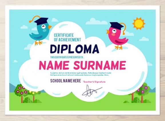 Diploma con estilo infantil para escuelas