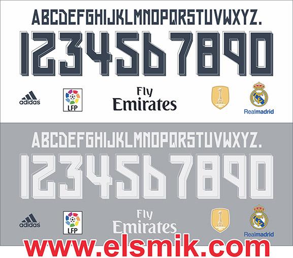 Fuente tipográfica del Real Madrid en vectores